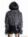 Gothic Punk Long-Furry Ultra-Short Jacket for Women