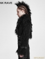 Black Gothic Punk Long-Furry Ultra-Short Jacket for Women