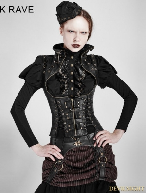 Black Steampunk High Collar Vest