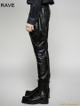 Black Gothic Military Uniform PU Leather Pants for Men