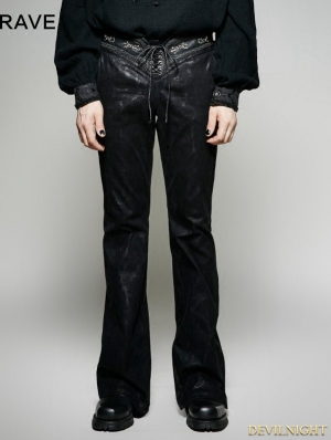 Black Gothic Bell-Bottoms for Men