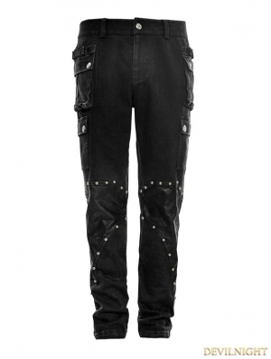 Black Gothic Military Uniform Rivet Trouser for Men