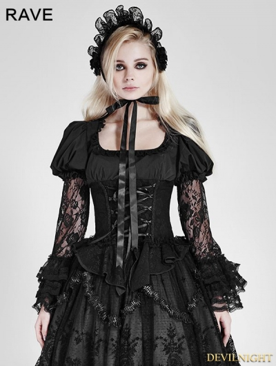Black Gothic Lolita Lace Long Sleeves Shirt for Women