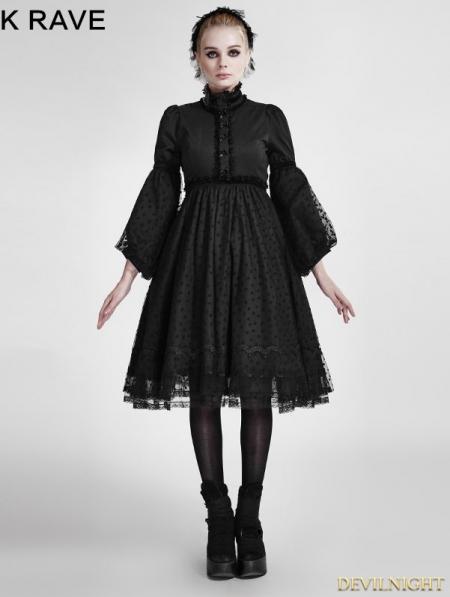 Black Gothic Lolita Puff Sleeves Dress Devilnight Co Uk