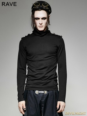 Black Gothic Military Uniform Long Sleeves Shirt for Men