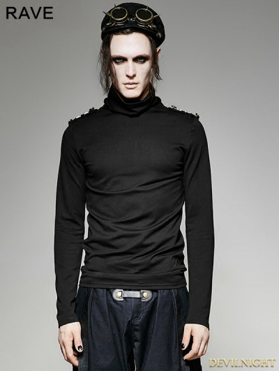 Black Gothic Military Uniform Long Sleeves Shirt for Men