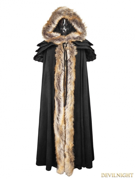 Black Gothic Wool Collar Long Cloak For Women Devilnight