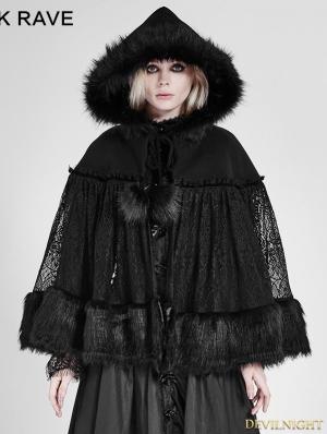 Black Gothic Lolita Lace Cloak