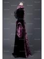 Black and Purple Velvet Vintage Medieval Hooded Dress