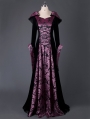 Black and Purple Velvet Vintage Medieval Hooded Dress