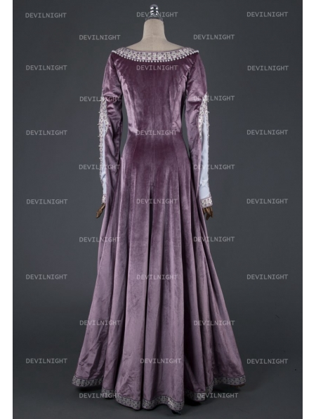 Elegant Purple Velvet Vintage Medieval Dress Devilnight
