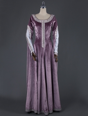 Elegant Purple Velvet Vintage Medieval Dress