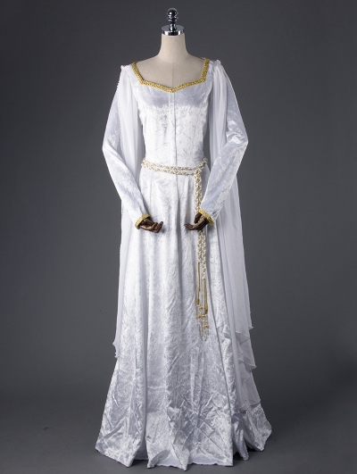 White Elegant Vintage Medieval Dress