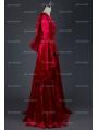 Red Velvet Medieval Hooded Dress