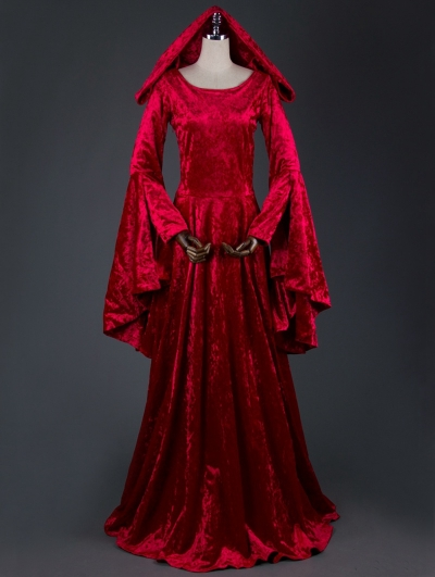 Red Velvet Medieval Hooded Dress