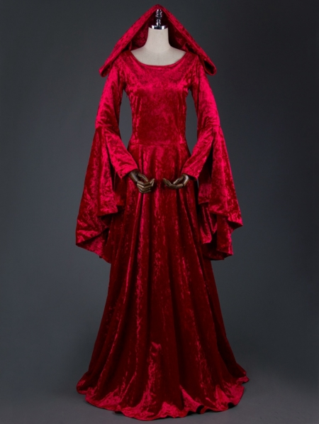 Red Velvet Medieval Hooded Dress Devilnight Co Uk