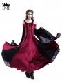 Wine Red Velvet Off-the-Shoulder Medieval Dress