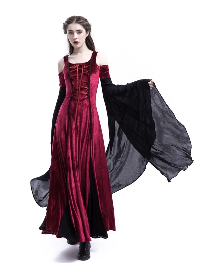 Wine Red Velvet Off-the-Shoulder Medieval Dress
