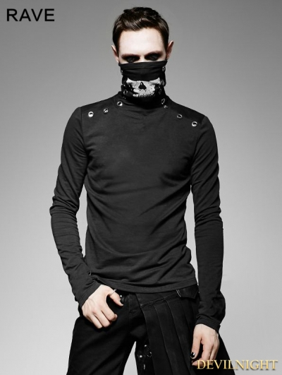 Black Gothic Heavy Punk High-Necked Printing T-Shirt for Men