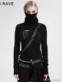 Black Gothic Asymmetrical Knit Punk T-Shirt for Women
