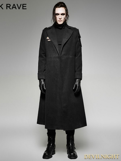 Black Gothic Military Uniform Woolen Coat for Men
