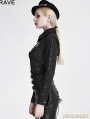 Black Gothic Punk Metal PU Leather Shirt for Women