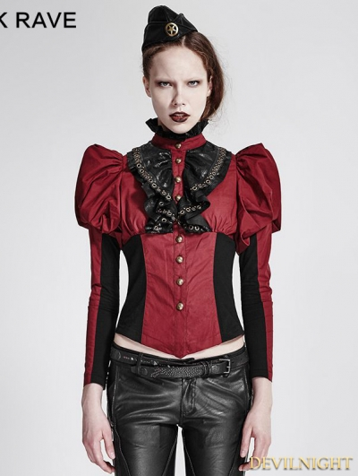 Black Steampunk Corset Long Shirt for Women