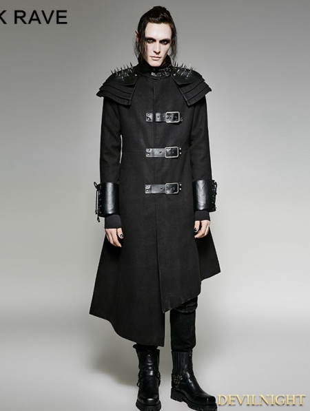 Black Gothic Asymmetric Woolen Military Jacket For Men