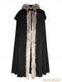 Black Gothic Wool Collar Long Cloak for Men