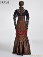 Brown Steampunk Hanging Neck Long Dress