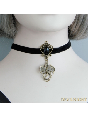 Black Vintage Elegant Dragon Pendant Necklace