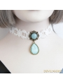 White Vintage Lace Blue Pendant Necklace