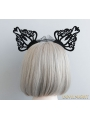Black Gothic Cat Ear Headdress with Tulle