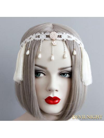 White Vintage Elegant Tassel Headress