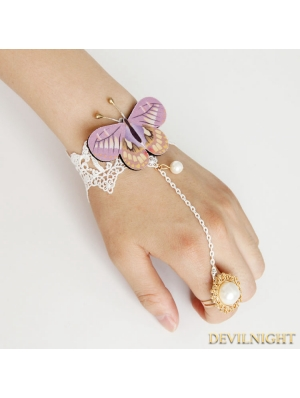 White Lace Butterfly Pendant Bracelet Ring Jewelry