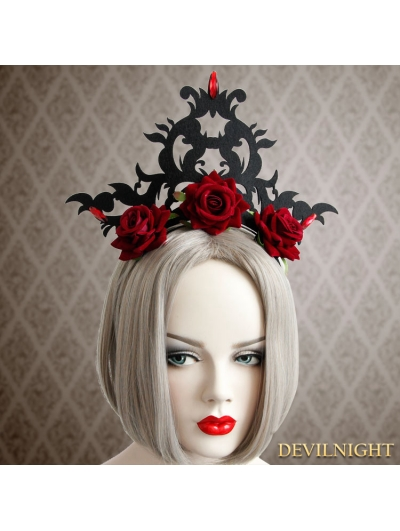 Black Gothic Rose Queen Crown Party Headdress