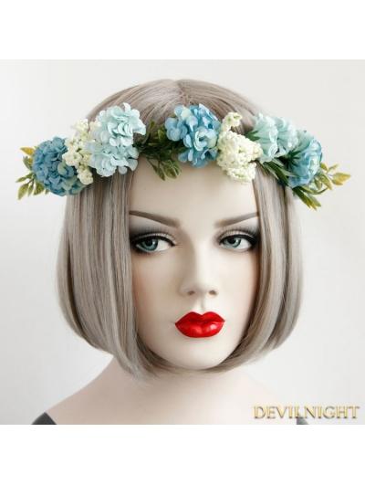 Blue Flower Garland Wedding Headress