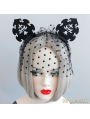 Black Gothic Cat Ear Holloween Headdress with Tulle