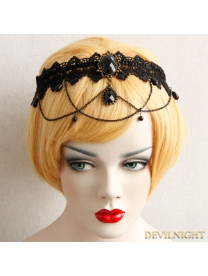 Black Gothic Dark Lace Party Headdress
