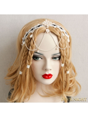 White Vintage Pearl Lace Headdress