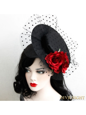 Black and Red Gothic Rose Holloween Party Hat Headdress