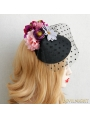 Black Gothic Tulle Flower Lady Headress