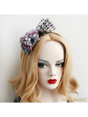 Black Gothic Violet Flower Headdress