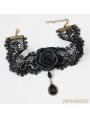 Black Gothic Rose Pendant Party Necklace