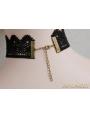 Black Gothic Elegant Bead Pendant Necklace