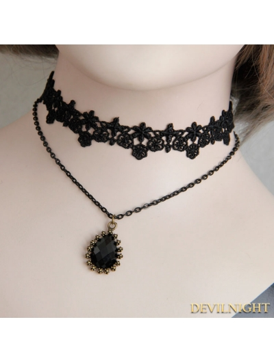 Black Gothic Lace Jacquard Pendant Necklace
