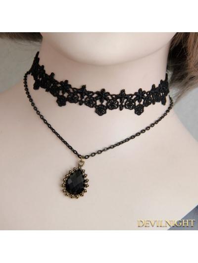 Black Gothic Lace Jacquard Pendant Necklace
