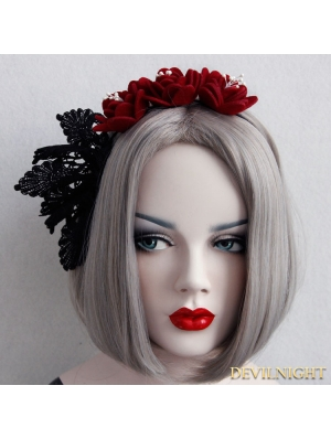 Black and Red Gothic Rose Leaves Holloween Headdress