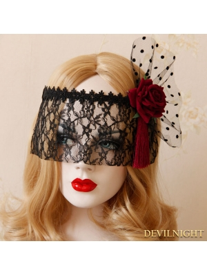 Black Gothic Lace Rose Holloween Veil