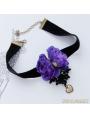 Black Gothic Violet Flower Necklace
